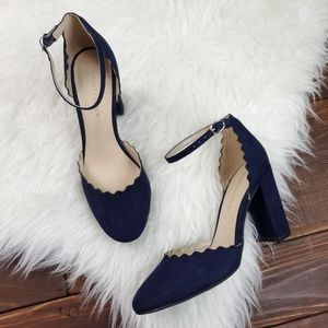 Marc Fisher 5.5 Navy Blue Sahar Scallop Pump